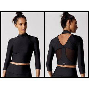 💕ALO💕 Yoga Archer Fitted Long Sleeve Top (black)
